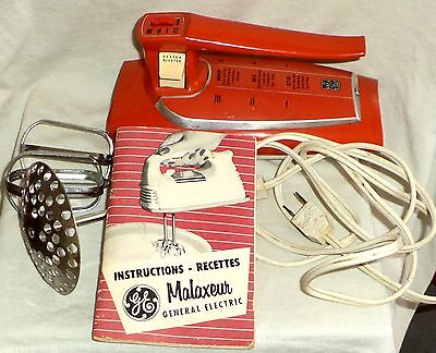 General Electric Hand Mixer Beaters Whipping Disc Mid Century Modern 1956