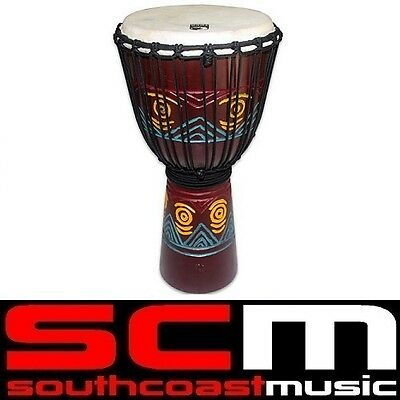 Toca 12 inch Wood Djembe Hand Drum Carved Tribal Pattern TOCTKSDJLT Brand New