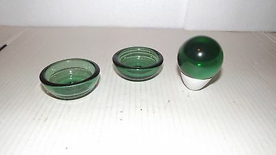 """Pair Georgian Bristol Green Glass Salts & Victorian""""End-of-the-day""""Witches Ball."""