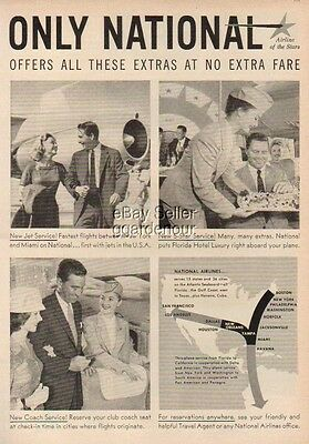 1959 National Airlines stewardess photo print ad