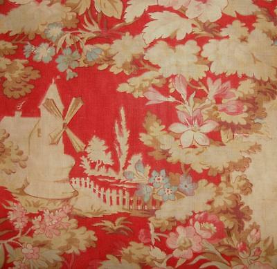 BEAUTIFUL FRAGMENT 19th CENTURY TOILE DE JOUY, WINDMILL FLOWERS REF, PROJECTS