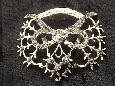 SILVER  BUCKLE WITH CLEAR STONES possibly French