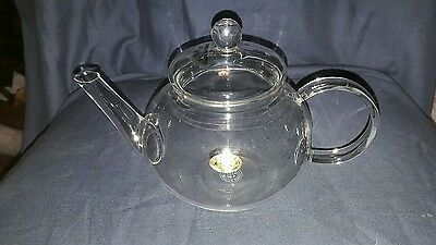 Modern Thin Clear Glass Teapot. Made by Hand. Chinese.