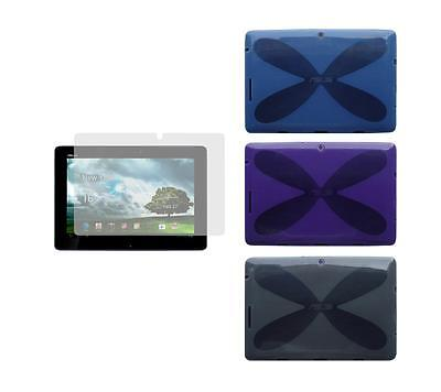 TPU Gel Skin Cover Case and Screen Protector for ASUS Transformer Pad TF300T