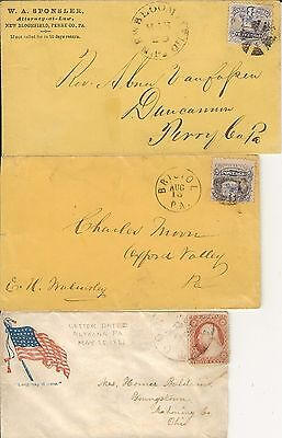 United States 19th Century Covers (6) with different cancellations