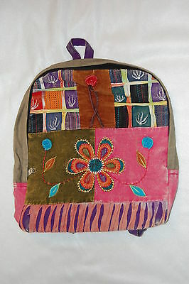 PURPLE Back PATCHWORK BOHO BACKPACK Embroidered FLOWERS green PINK Girls