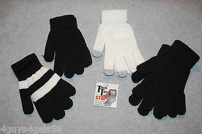 Womens 4 PAIR LOT STRETCH GLOVES Touchscreen Tips BLACK OFF WHITE One Size