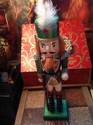 LOVELY GREEN SPARKLE KING SOLDIER NUTCRACKER SIZE 14in detail/jewelled/braiding.