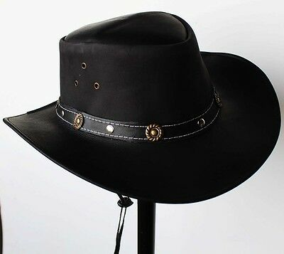 L Horse Western Cowboy Indiana Jones Crushable  Oiled LEATHER Outback Hat 24H03