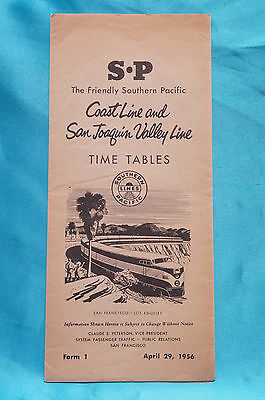 Southern Pacific - Coast Line and San Joaquin Valley Line - Timetables - 4/29/56