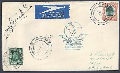 South Africa Uk 1936 England South Africa Air Race September 1936 Cachet In Blue