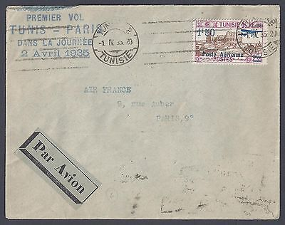 Tunis 1935 France First Flight On Air France Tunis To Paris Cachet Dated 2 Avril