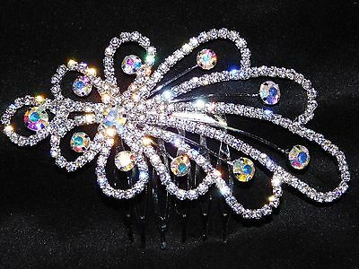 Bridal Hair Comb Silver With AB Iridescent Rhinestone Crystal Hair Accessories