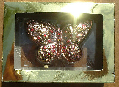 Glass Butterfly Christmas Ornament. New In Box. 4.5 Inches.