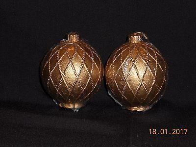 Gold Christmas Ornament Candle~Pair