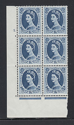 Great Britain SG 586 MNH. 1958 1sh6p Wilding Cylinder Block of 6, number 1.