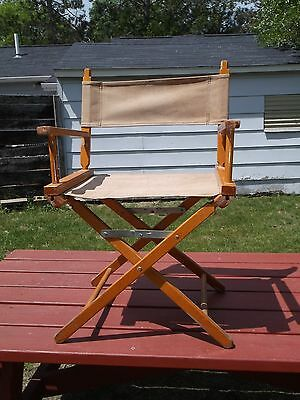 """a. Vintage Commander Chair Director's Style Brown  Wood  About 33 1/8"""" Side Back"""