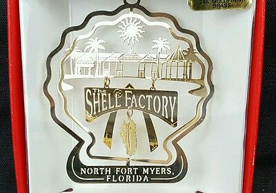 Shell Factory, North Fort Myers Florida Ornament  Souvenir, Brass w/ Gold Finish