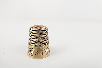 ANTIQUE 14k Yellow Gold  Engraved SIZE 8 Thimble 4.3 GRAMS