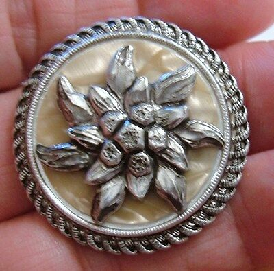 Vintage Round Silver Edelweiss Swiss Flower Scarf Clip Pearly Luminous Celluloid