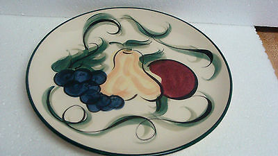 Fitzpatrick  Pottery Handpainted 1994' 10'' Fruit Dinner Plate ..great