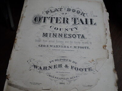 Vintage 1884 Plat Map Otter Tail County Minn Homestead and Butler Twp