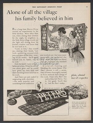 1923 Peter's Candy Bar Swiss Chocolate Croquettes Vintage Print Ad