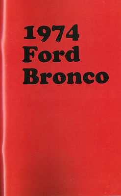 1974  Ford Bronco Owner's  Manual