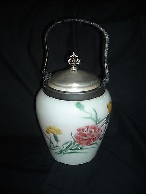 ANTIQUE hand painted Porcelain BISCUIT JAR silver plate England signed by artist