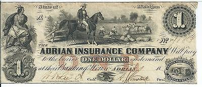 Michigan Adrian Insurance Company $1 18XX A80 #4103 Overseer on Horse Issued