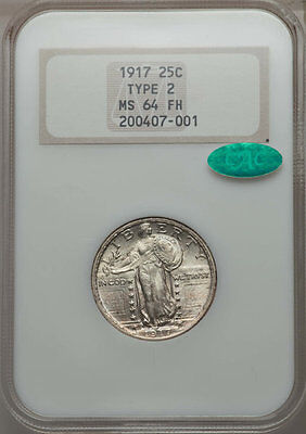 1917 Type 2 NGC 64 FH CAC  Standing Liberty Quarter FREE SHIPPING US ONLY
