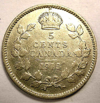 1913 5c Five Cent Silver Canada Nice  FREE SHIPPING