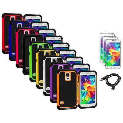 For Samsung Galaxy S5 Hybrid Shockproof Rugged Case Cover+Screen Protector+USB