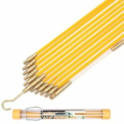 11' Fiberglass Wire Cable Running Rods Kit Fish Pulling Wire Holder & Connectors