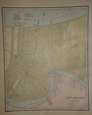 Vintage 1891 New Orleans Map  ~ Old Antique Atlas Map Free S&h 91/011117
