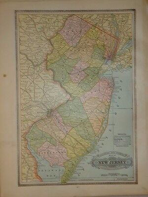 Vintage 1886 New Jersey Railroad Map ~ Old Antique Atlas Map Free S&h 86/011117
