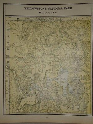 Vintage 1891 Yellowstone Wyoming Map  ~ Old Antique Atlas Map Free S&h 91/011117