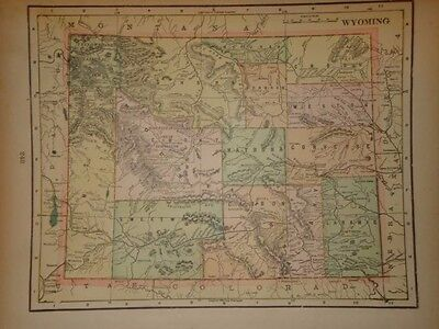 Vintage 1898 Wyoming Map ~ Old Antique Atlas Map Free S&h 98/011117