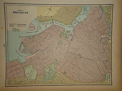 Vintage 1898 Brooklyn Nyc Map ~ Old Antique Atlas Map Free S&h 98/011117