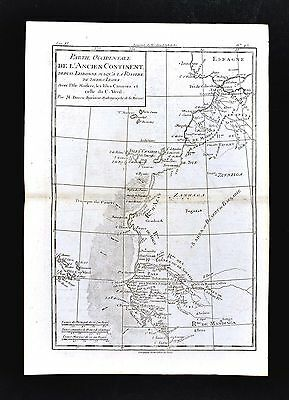 1779 Bonne Map - West Africa Morocco Sahara Desert Cape Verde Islands Canary Isl