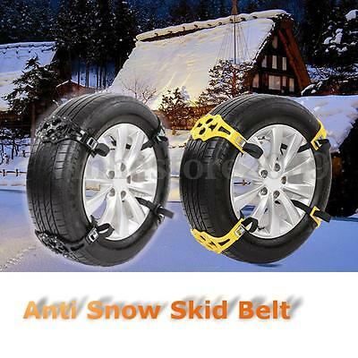4pcs/set Car Truck Snow Wheel TPU Chain Winter Tire Anti-skid Belt Yellow Black
