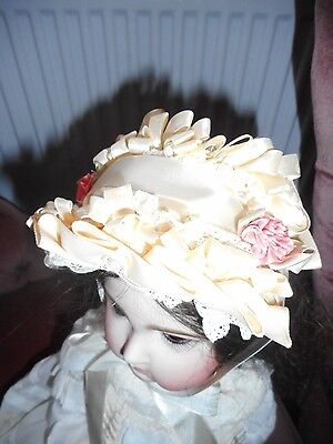 Wired Satin And Ribbon Bonnet For A Variety Of Different Size Antique Dolls