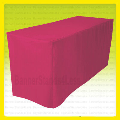 """4' Fitted Polyester Table Cover Wedding Banquet Tablecloth 24"""" Width - Fuchsia"""