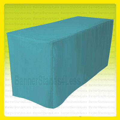 """4' Fitted Polyester Table Cover Wedding Banquet Tablecloth 24"""" Width - Turquoise"""