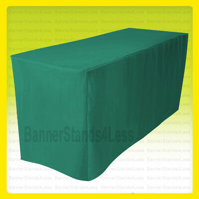 8' Fitted Table Cover Tablecloth Throw Wedding Banquet Trade Show - Green