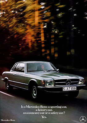 MERCEDES SL R107 COUPE RETRO A3 POSTER PRINT FROM CLASSIC 70's ADVERT