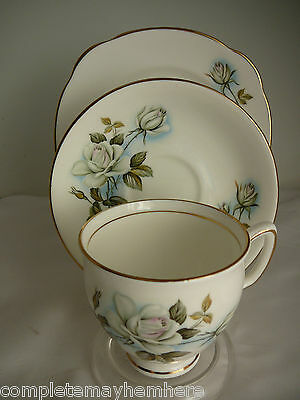 Duchess China made in England trio cup saucer plate white roses high tea party