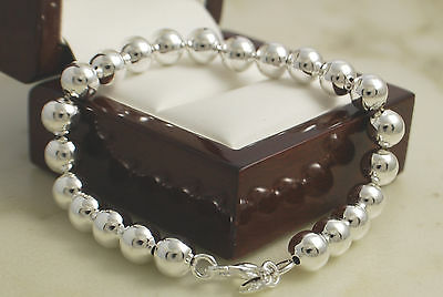 """Gorgeous 925 Stamped Silver Polished 8mm Ball Bead Bracelet Bangle 8"""" -New - 28"""