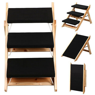 Portable Wooden 2-in-1 Pet Folding Dog Cat 3 Ramp Steps Stairs Ladder Travel UK