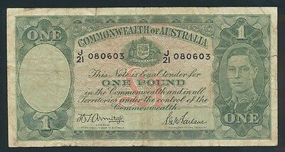 Australia: 1942 KGVI £1 Armitage-McFarlane. LIGHT GREEN PRINTING, Fine Cat $75
